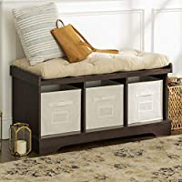 Walker Edison Furniture Company MER-1275 3 Cubby Cushion Storage Bench with Totes
