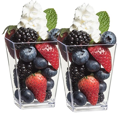 Tall Glass Bowl (Zappy 44 5 oz Tall Square Clear Dessert Cups Dessert Glasses Shot Glasses Trifle Bowl Clear Disposable Plastic Dessert Tumbler Cups Party Cups ( 44 Square Dessert Tumblers)