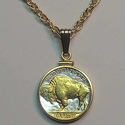 Old U.S. Buffalo nickel, Gorgeously 2-Toned (Uniquely Hand done) Gold on Silver coin Necklaces for women men girls girlfriend boys teen girls (Gold Buffalo Necklace)