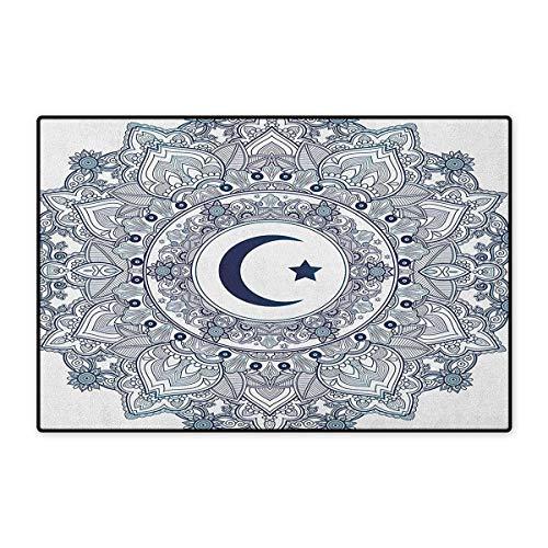 Moon,Door Mat for Tub,Arabesque Symbol Eastern Design Religious Celebration Vintage Circle Pattern,Customize Door Mat with Non Slip Backing,Dark Blue Teal White,Size,16x24 (W40cm x L60cm)
