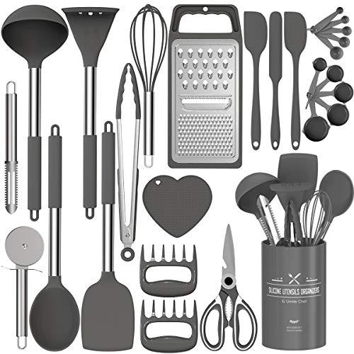Silicone Kitchen Cooking Utensils Set, Fungun 27 Pcs Kitchen Utensil Set with Stainless Steel Handle – Kitchen Gadgets…