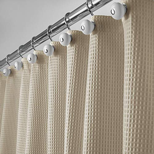 mDesign Long, Polyester/Cotton Blend Fabric Shower Curtain with Waffle Weave and Rust-Resistant Metal Grommets for Bathroom Showers and Bathtubs, 72