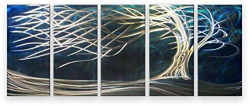Metal Wall Art Modern Landscape Contemporary Sculpture White Tree Blue 5 Panels