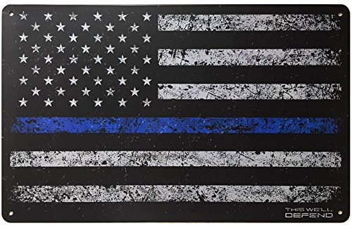Thin Blue Line Sign American Flag 10