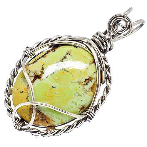 Ana Silver Co Lemon Chrysoprase 925 Sterling Silver Pendant 1 1/2