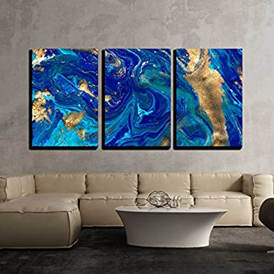 3 Piece Canvas Wall Art - Marbled Blue Abstract Background. Liquid Marble Pattern. - Modern Home Art Stretched and Framed Ready to Hang - 16