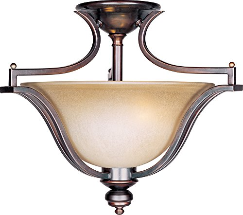 - Maxim 10171WSOI Madera 3-Light Semi-Flush Mount, Oil Rubbed Bronze Finish, Wilshire Glass, MB Incandescent Incandescent Bulb , 100W Max., Dry Safety Rating, Metal Shade Material, Rated Lumens