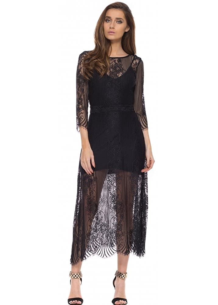 9171c65ae40 For Love   Lemons San Marcos Black Lace Maxi Dress with Open Back X Small  Black  Amazon.co.uk  Clothing