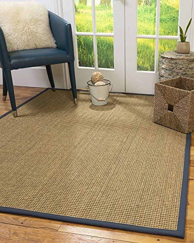 NaturalAreaRugs 100% Natural Fiber Handmade Hamptons, 10' Octagon Beige Seagrass Rug, Marine -