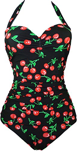 EUDOLAH Dames badpak Figuurvormende Badmode Nekhouder Retro Vintage Push Up Kersen Cherry Belly Path