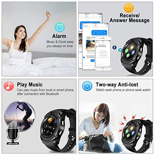 Smart Watch,Bluetooth Smartwatch Touch Screen Wrist Watch with Camera/SIM Card Slot,Waterproof Phone Smart Watch Sports Fitness Tracker Compatible Android Phones Black by Topffy (Image #1)