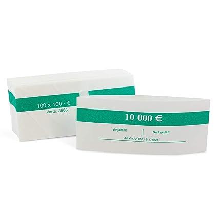 Banderolen f/ür Euro Geldschein 1000 St/ück Geldbanderole Papier f/ür:100 x 100 /€ gr/ün