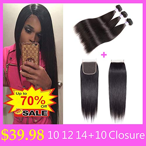 AMZTMY Brazilian Straight Hair 3 Bundles with Closure 100% Unprocessed Virgin Human Hair Bundles with 4×4 Lace Closure Remy Hair Weave Extensions Natural Color (10 12 14+10 Closure)