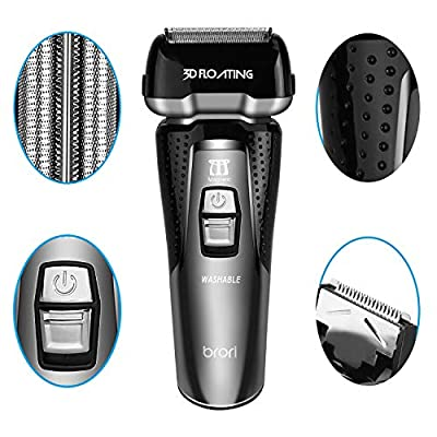 INSMART Electric Shaver for men, Waterproof Wet/Dry USB Quick Rechargeable Cordless Electric Razor with Led Display, Travel Lock & Pop Up Trimmer-Black