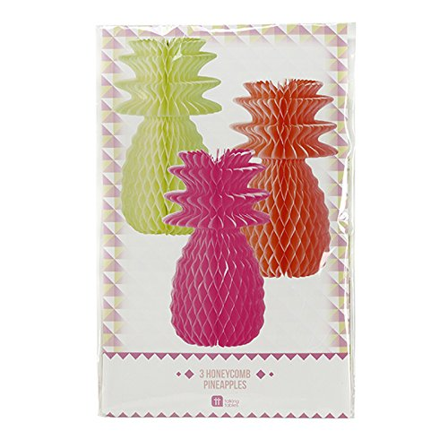 Talking Tables Decadent Decorations Hanging Honeycomb Pineapple Décor for a BBQ, Luau, or Summer Party, Multicolor (3 Pack)
