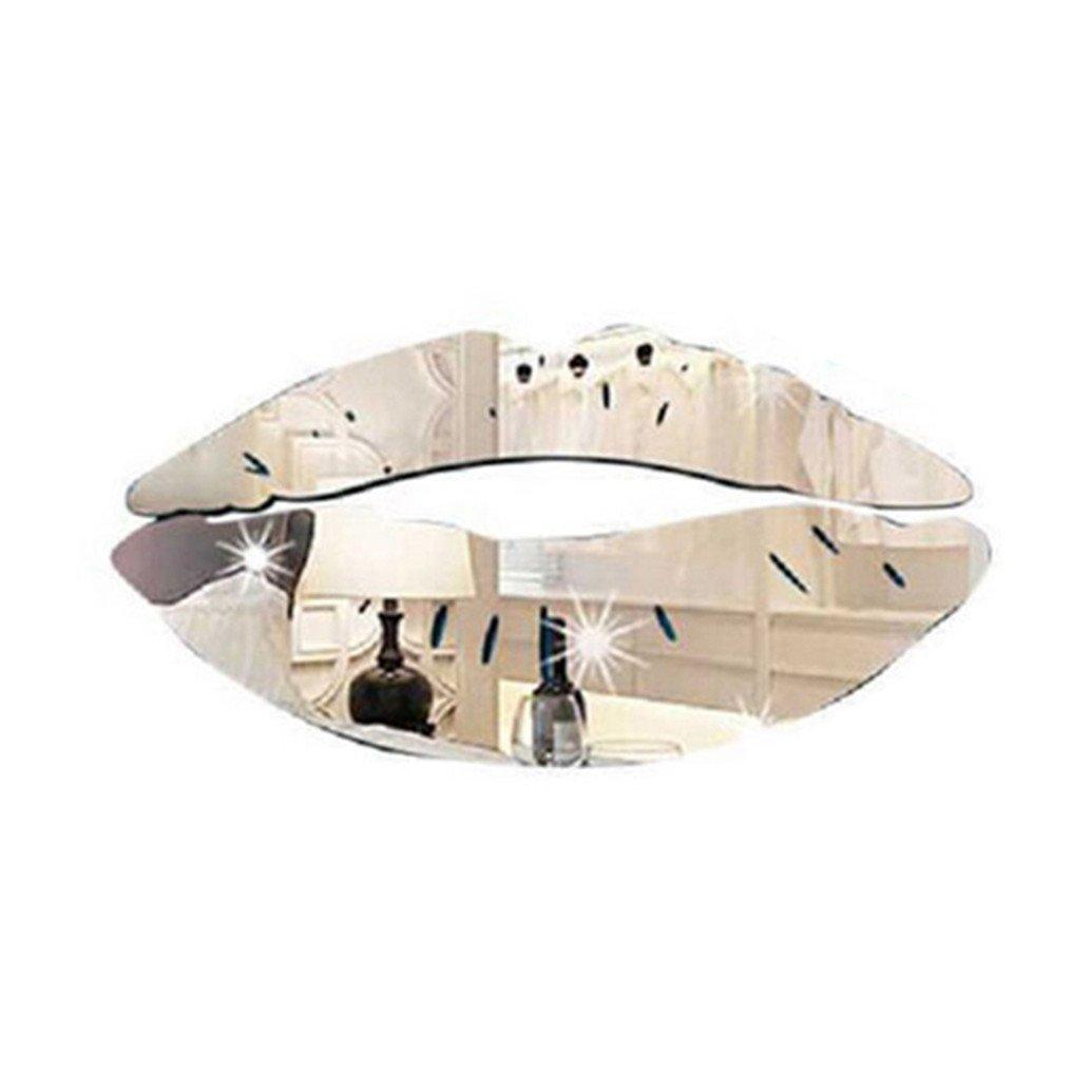 Colorido Fashion 3D Acrylic Mirror Kiss Lip Wall Sticker DIY Art Mural Decal Home Decor size Medium (Silver) by Colorido (Image #1)