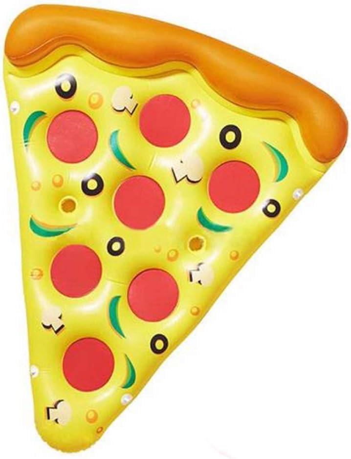 膨脹可能なピザ大人の浮遊列色の浮遊ベッドの水泳リング水膨脹可能なベッド水おもちゃの台紙 -可愛いデザイン (Color : Pizza yellow, Size : 180×150CM)