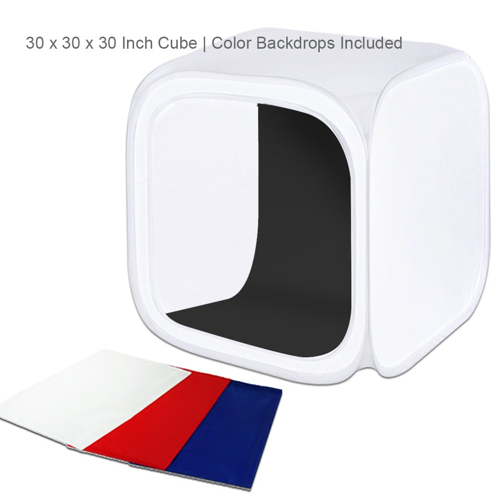 Julius Studio 30'' Cube Photo Shooting Tent with Color Backdrops, Table Top Photo Lighting Kit, Light Head Lamp, Spiral Photo Bulb, Small Light Stand Tripod, Photo Studio, JSAG266 by Julius Studio (Image #3)