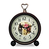 Konigswerk Vintage Retro Old Fashioned Decorative Quiet Non-ticking Sweep Second Hand, Quartz Analog Large Numerals Desk Clock, Battery Operated, Loud Alarm (Clock Tower)