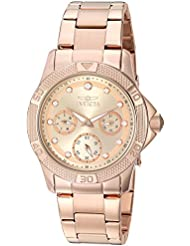 Invicta Womens Angel Quartz Stainless Steel Casual Watch, Color:Rose Gold-Toned (Model: 21765)