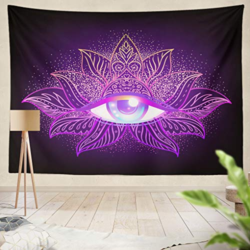 ed Geometry Symbol Eye Over Acid Colors Mystic Alchemy Indie Flyer Astrology Esoteric Religion Hanging Tapestries 60 x 80 inch Wall Hanging Decor for Bedroom Livingroom Dorm ()