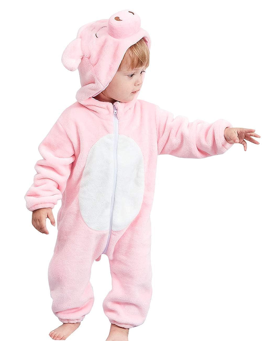 2-24 Meses Beb/é Mameluco Traje de Franela Disfraces Ni/ños Mono Pelele Encapuchado Ni/ñas Invierno Infantil Ropa de Una Pieza Pijama Animado Animal Oto/ño Happy Cherry