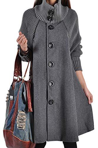 Femmes Taille Plus La Laine Avant yulinge Cardigan Gris Bouton Roul Ouvert Up Col Manteau Cdg7wq6