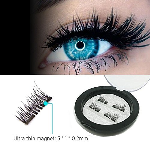 Magnetic Fake eyelashes-NO GLUE 3D Reusable Magnet Eyelashes 1.5cm Half Cover Ultra Thin 0.2mm for Natural Look Eyelashes Extension with Free Eyebrow(1 Pair 4 Pcs) (Dual Magnetic False Eyelashes)
