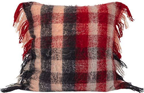 Urban Loft by Westex Mohair Plaid Red Check Feather Filled Decorative Throw Pillow Cushion 20