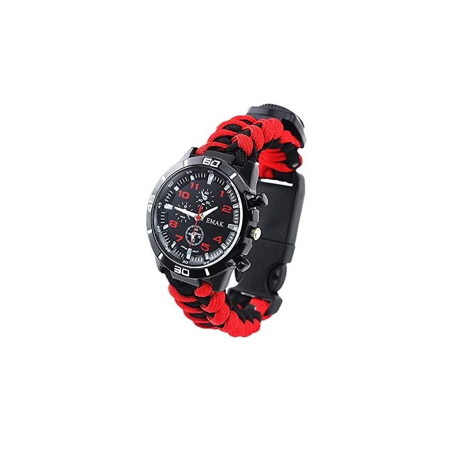 Vickeylla Survival Bracelet Watch, Outdoor Men & Women Camping Hiking Watch Watch Military Grade with Embedded Compass Starter & Tinder, Whistle 6 in 1 Multifunctional Outdoor Gear