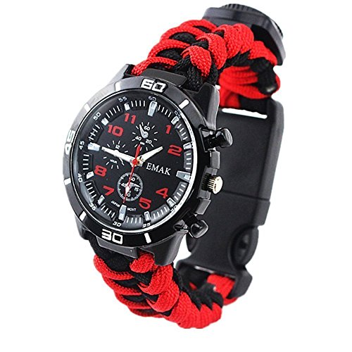 Survival Bracelet Watch, Outdoor Men & Women Camping Hiking Watch Watch Military Grade with Embedded Compass Starter & Tinder, Whistle 6 in 1 Multifunctional Outdoor Gear