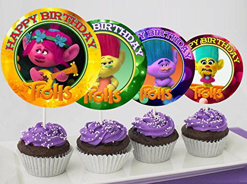 12 TROLLS Birthday Inspired Party Picks Cupcake Toppers 1