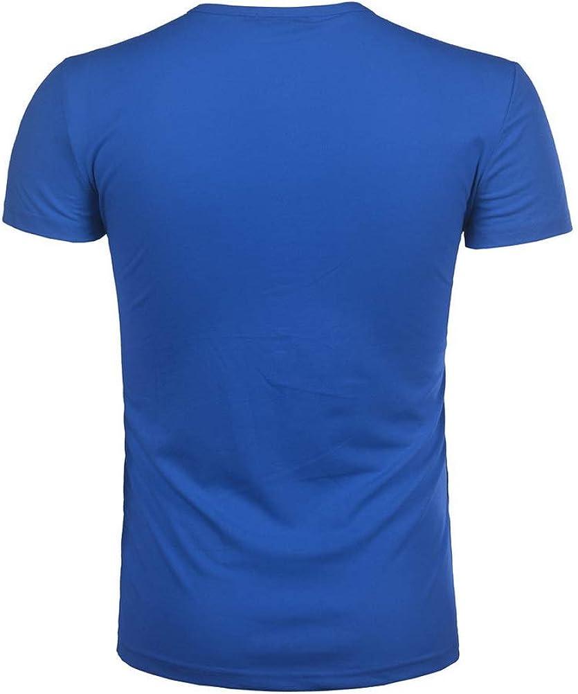 Hombres Casual Manga Corta Camiseta Soltero Bot/ón Abertura Llano v Cuello Camisas Algod/ón