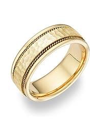 14K Yellow Gold Hammered Finish Wedding Band Ring