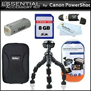 Essentials Accessory Kit For Canon PowerShot SD4500IS Sd4500 ELPH 510 HS Includes Flexible Tripod + 8GB High Speed SD Memory Card + USB 2.0 Card Reader + Extended Replacement NB-9L (1000 mAH) Battery + Hard Case + LCD Screen Protectors + More