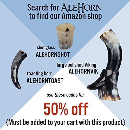 AleHorn – The Original Handcrafted Authentic Viking Drinking Horn Tankard for Beer, Mead, Ale – Medieval Inspired Stein Mug – Food Safe Vessel with Handle (Large 4PK, Natural Horn) by AleHorn (Image #4)