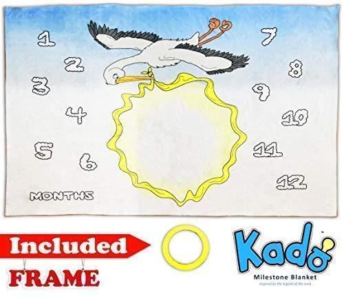 Kado 赤ちゃん用マンスリーマイルストーン プレミアムブランケット 男の子と女の子用   写真撮影用小道具 新生児用   完璧な大きさ 60インチ x 40インチ ソフトで厚手   B07HZ5QQ6N