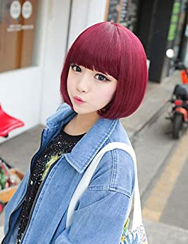 XH@G japoneses y coreanos chicas de moda borgoña pelo corto peluca bobo , red