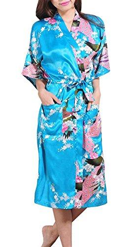 DELEY Mujer Pijama Ropa De Dormir Kimono Exóticos Pavo & Flores Satén Albornoces Bata Azul lago