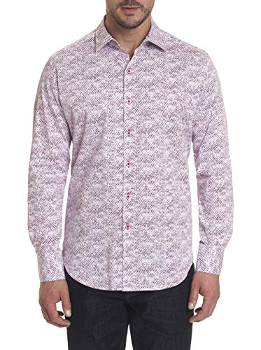 Robert Graham Blurred Vision Long Sleeve Printed Woven Shirt Classic Fit Berry XLarge from Robert Graham