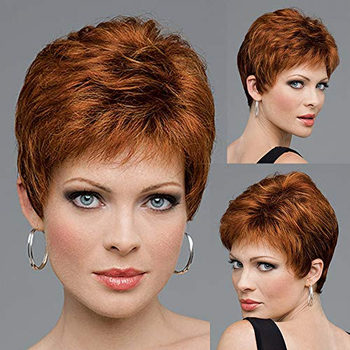 GNIMEGIL Slightly Curled Short Copper Brown Hair Wigs with Bangs Natural Hairstyle for Daily Wear Heat Resistant Hair Synthetic Wig Cosplay Costume Party Wig -