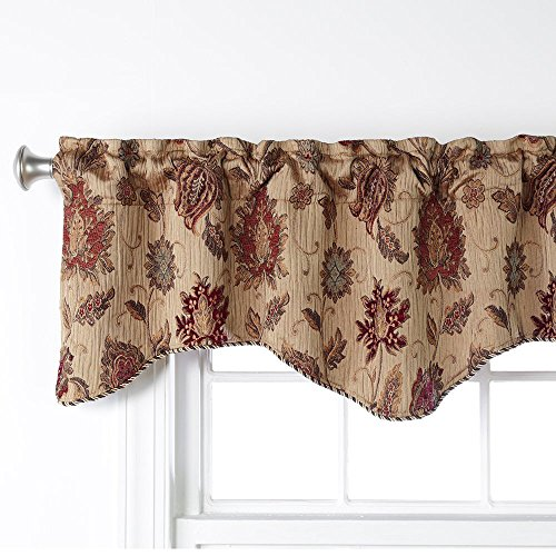 Stylemaster Valance - Stylemaster Home Products Renaissance Home Fashion Melbourne Chenille Scalloped Valance with Cording, 52 by 17-Inch, Wheat