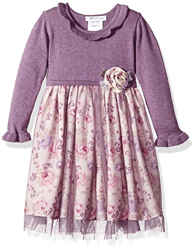 Bonnie Jean Girls' Toddler Long Sleeve Sweater to Skirt Dress, Lavender Floral, 2T