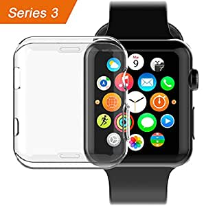 Apple Watch 3 Case,LOITSWAL iwatch screen protector TPU All-around protective case 0.3mm hd clear ultra-thin cover for 2017 new apple Watch series 3 (38mm)