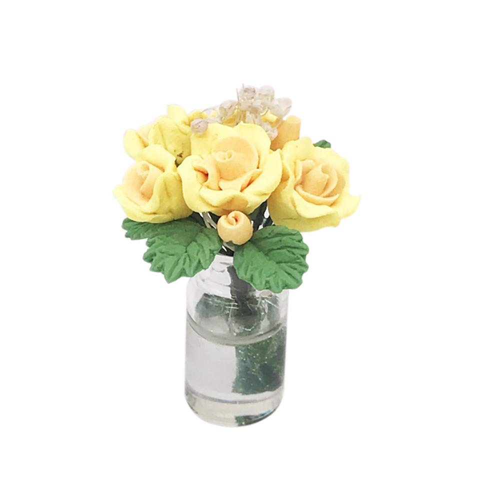 Vibola 3 Packs, Dollhouse Accessories, Miniature Green Plant Rose in Pot,DIY Educational Toys for Living Room Pretend Play Toy (Yellow)
