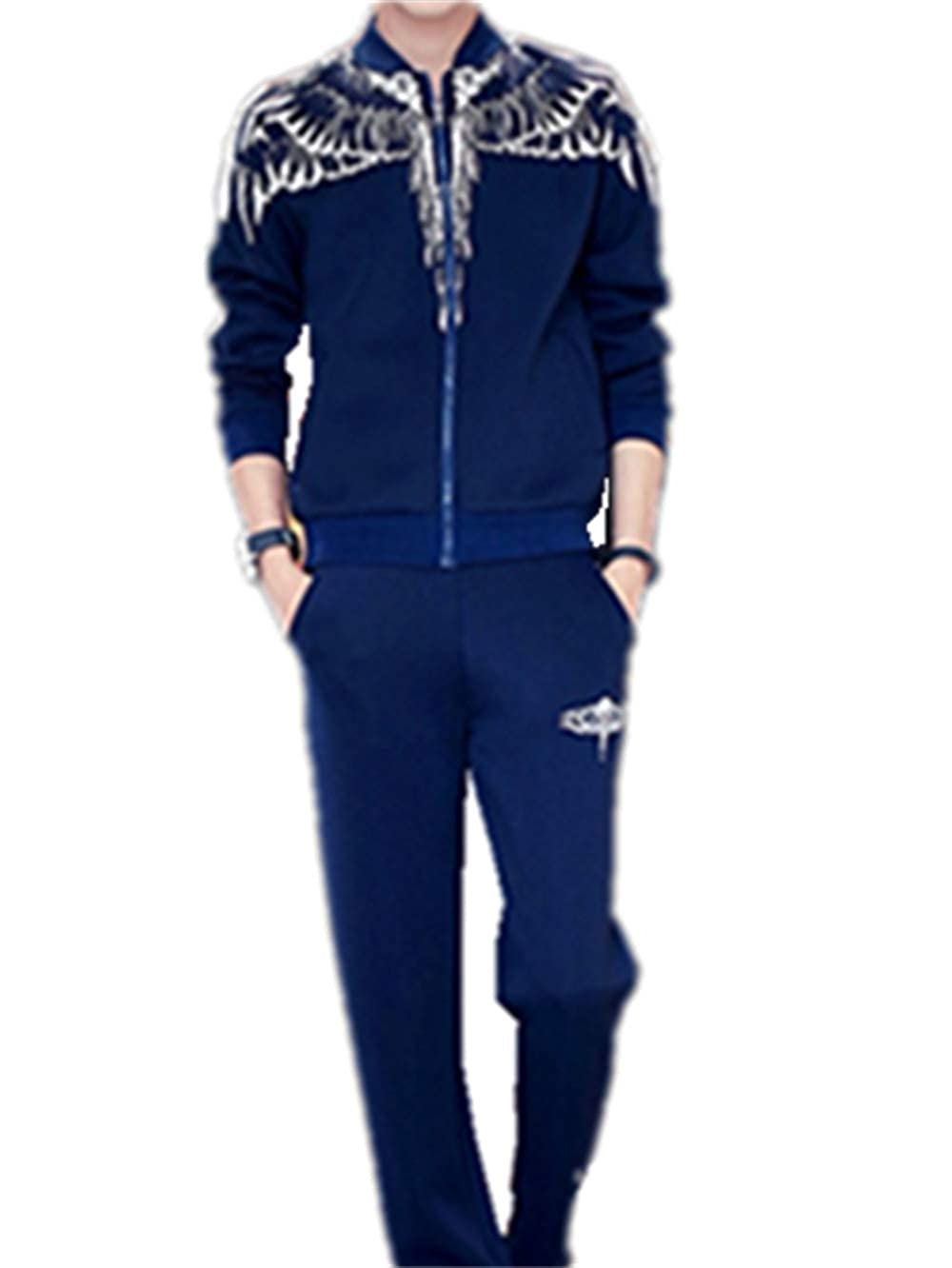 blueee Medium Mens Tracksuit Feather Wings Fashion Warm Up Jog Suit with Clothes and Pants