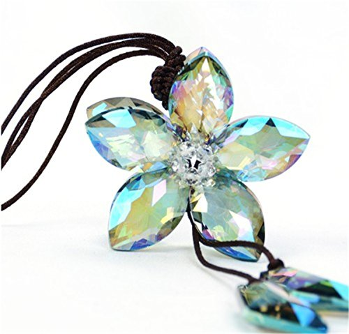 Fochutech Beautiful Crystal Flower Car Pendant Lucky Hanging Rearview Mirror Ornament Charm Decoration Accessories (Colorful)