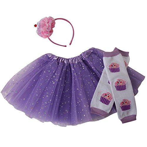 Girls Cupcake Fairy Princess Tutu, Leg Warmers & Headband Dress Up Set (Lavender) -