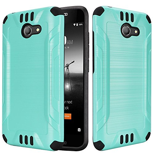 For ALCATEL ZIP Case, ALCATEL KORA Case, Phonelicious [New Gen Chrome][Slim Fit] [Brushed Metal Texture] [Heavy Duty] Ultimate Drop Protection Rugged Cover w/Screen Protector& Stylus (TEAL)