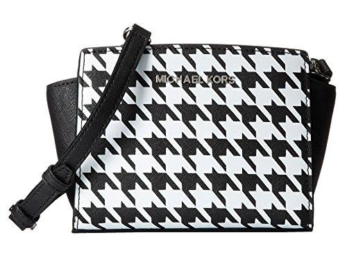 Michael Kors Selma MINI Messenger Cross-body Bag in Black & White Houndstooth Saffiano Leather ()